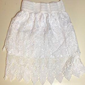 M.u.s.a white crochet skirt